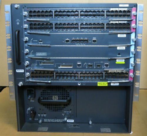 Cisco Catalyst 6 Bay 6500 WS-C6506-E Modular Switch Chassis + Modules & 1x PSU